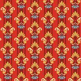 Floral striped pattern on a red background. Royalty Free Stock Photography