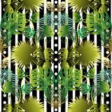 Floral striped vector seamless pattern. Abstract geometric tropic palm leaves background. Vertical black and white stripes, circles. Green exotic plants stock illustration