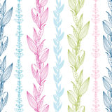 Floral stripes vertical seamless pattern Stock Photo