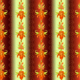 Floral stripped seamless pattern. Red iris flower background. Royalty Free Stock Image