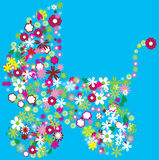 Floral stroller. On blue background Stock Photos