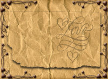 Love. Floral style old paper texture background Royalty Free Stock Images