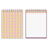 Floral style pink and yellow notebook cover design Royalty Free Stock Photo