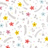 Floral stylish background. Cute seamless pattern with colored flowers.  Stock Photography