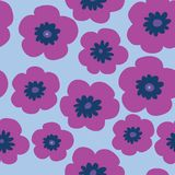 Floral stylish pattern with pink poppies on a blue background. Floral stylish pattern with a pink poppies on a blue background Stock Image