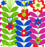Floral stylish seamless pattern. Cute doodle flowers on white background Royalty Free Stock Images