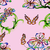 Floral Stylish Wallpaper, Seamless Pattern Stock Image