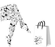 Floral stylized legs. Vector floral stylized legs with shopping bag Royalty Free Stock Photo