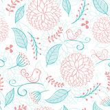 Floral summer background with birds Stock Images