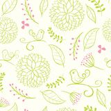 Floral summer background with birds. Royalty Free Stock Images