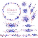 Floral summer blue bouquets with brown branches. Cliparts for wedding design, artistic creation. Watercolor floral summer blue bouquets with brown branches. 12 stock illustration