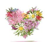 Floral summer bouquet, heart shape for your design Royalty Free Stock Photography