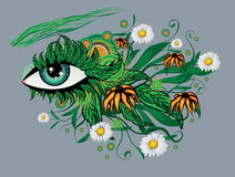 Floral summer eye Royalty Free Stock Images