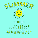Floral summer font. Red and yellow colors of the font, punctuati Stock Photos