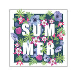 Floral Summer Greeting Card Design. Stock Photo