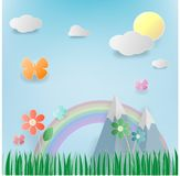 Floral summer meadow with flowers,sun,cloundpaper art. Floral summer , meadow with flowers,sun,clound, blue sky and butterflies Royalty Free Stock Photography