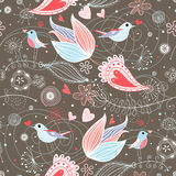 Floral summer pattern with birds vector illustration