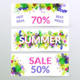 Floral summer sale web banners. Stock Image