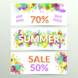 Floral summer sale web banners. Royalty Free Stock Image