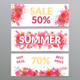 Floral summer sale web banners. Stock Images