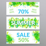 Floral summer sale web banners. Stock Photo