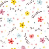 Floral summer seamless pattern with leaves, branches and flowers Royalty Free Stock Photos