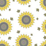 Floral summer seamless pattern of sunflowers royalty free illustration