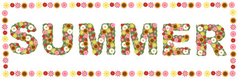Floral summer word. Illustration of a floral summer word isolated on white, useful as banner.EPS file available Royalty Free Stock Photo