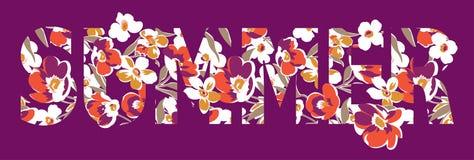Floral summer word mark. Vector artwork for girls t shirt in custom colors stock illustration