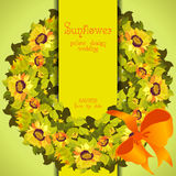 Floral sunflower and leafs circle strip border wedding design. Yellow orange floral sunflower and leafs circle wreath. Vertical border strip design. Wedding Royalty Free Stock Images