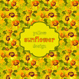 Floral sunflower and leafs seamless pattern background. Vintage text label. Stock Images