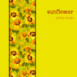 Floral sunflower and leafs vertical border design. Vertical strip pattern. Royalty Free Stock Images