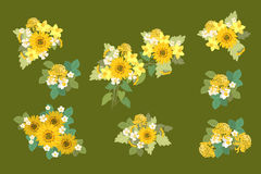 Floral sunflower, narcissus, strawberry flowers retro vintage background Stock Images