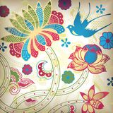Floral and Swallow. Illustration of Floral and Swallow Stock Images