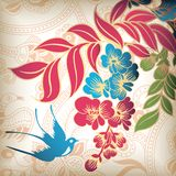 Floral and Swallow. Illustration of Floral and Swallow Stock Image