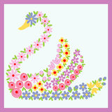 Floral Swan. An elegant Illustration of swan made of flowers Royalty Free Stock Photos