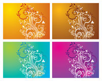 Floral & Swirl. 4 different coloured background with elegant and stylish floral and swirl elements Royalty Free Stock Images