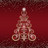 Floral swirls Christmas tree greeting card. With red background. Vector illustration Stock Photo