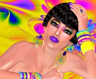 Floral swirls create the backdrop for this bold colored fashion scene. A woman with a short hairstyle, matching eye shadow and accessories poses. Our original vector illustration