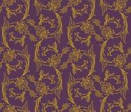 Floral swirls seamless pattern Royalty Free Stock Photo