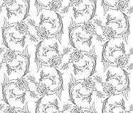 Floral swirls seamless pattern Royalty Free Stock Image