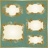 Floral swirly golden frames Royalty Free Stock Images
