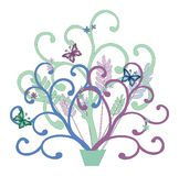 Floral Swirly Vector. Floral design with swirls and butterflies.  Also available as a Stock Photos