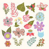 Floral Symbols  icon set of lovely flowers in vintage-style Royalty Free Stock Images