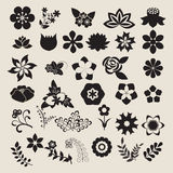 Floral Symbols  icon set Vector Flower Set. Vector collection of silhouette leaves and flowers Royalty Free Stock Photography