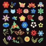 Floral Symbols  icon set Vector Flower Set Stock Photos