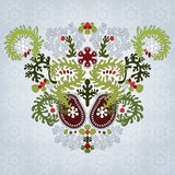 Floral symmetrically element with lacy leaves Royalty Free Stock Photos