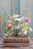 Floral table arrangement with gerbera flowers Royalty Free Stock Image