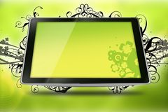 Floral Tablet. Cool Yellow-Kiwi Colors Tablet Computer with Vector Floral Elements - Floral Ornaments.. Technology and Art Royalty Free Stock Photos