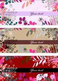 Floral tag set. In very jolly colors Royalty Free Stock Photo